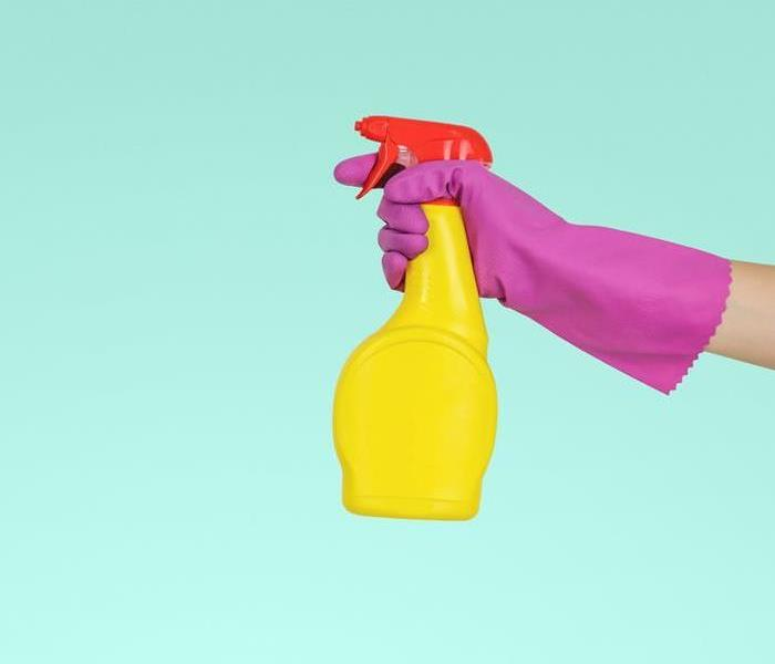A person wearing a glove with a bottle of cleaner